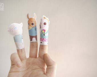 Finger puppets - Farm Birthday Party - printable paper toys - instant download - by Monopache