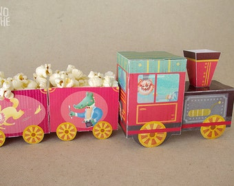 Circus train - Circus Birthday Party - printable paper toy - Instant Download - by Monopache
