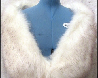 SOLD - Luxury Long Pile , Off White Faux Fur Stole