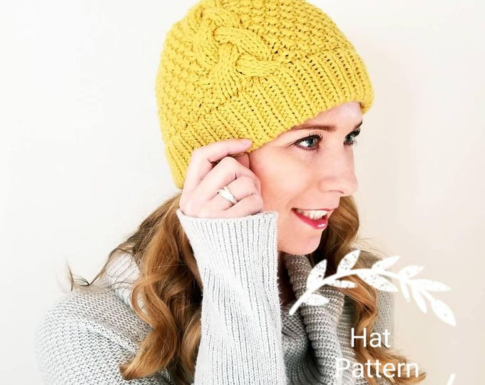 Featured listing image: Knitting Pattern - Popham Double Brim Beanie Pattern