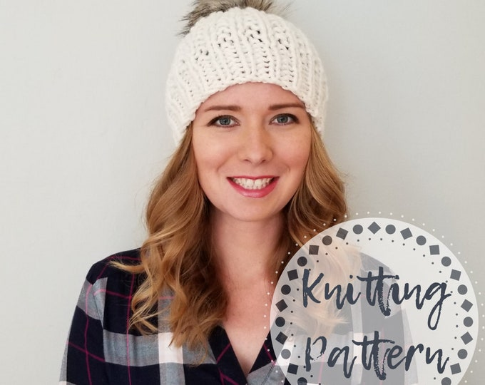 Featured listing image: Knitting Pattern - Moxie Hat - Knit Hat Pattern
