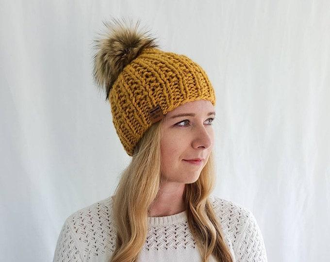 Moxie Hat with Pom Pom - Mustard