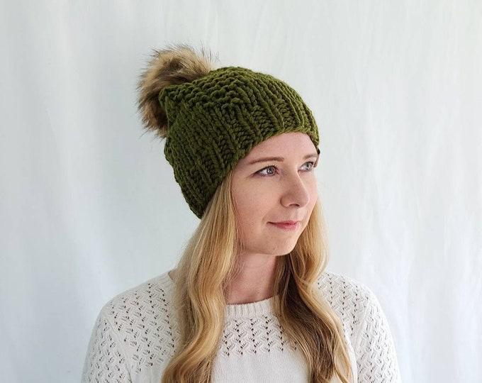 Rangeley Hat with Pom Pom - Olive