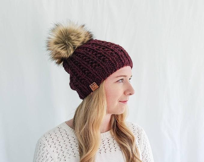 Moxie Hat with Pom Pom - Claret
