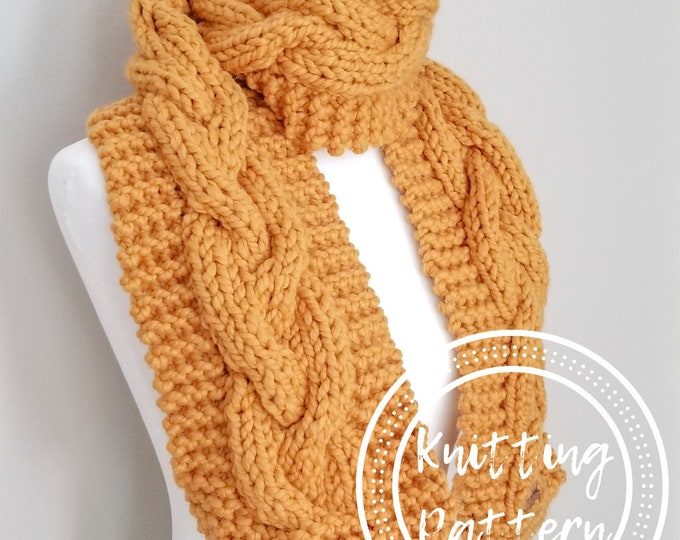 Featured listing image: Beacon Cable Scarf Knitting Pattern