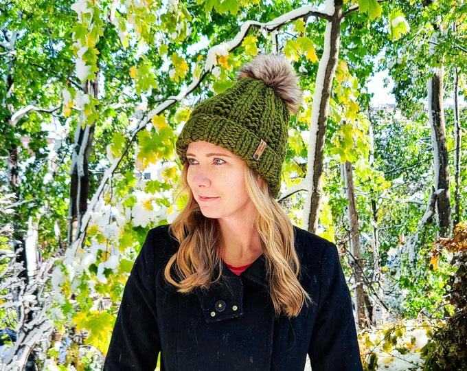 Featured listing image: York Beanie - Olive - Pom Pom Hat