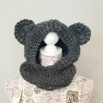 Bear Hood - Child Hat - Animal Hood - Charcoal