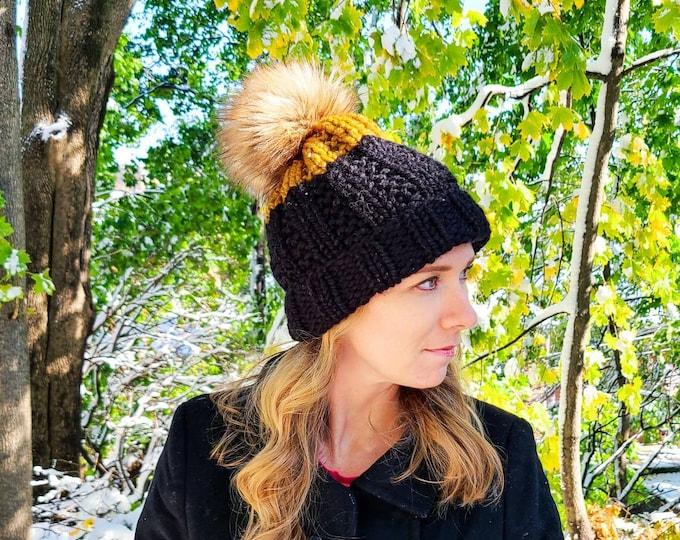 York Beanie - Flax and Black - Pom Pom Hat