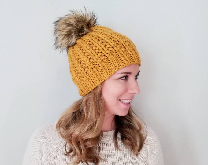 Featured listing image: Moxie Hat - Knit Hat - Mustard
