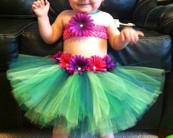 3 PC Hula/Luau tutu dress outfit, newborn to 4 yo