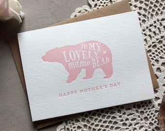 Letterpress Mama Bear Mother's Day Card
