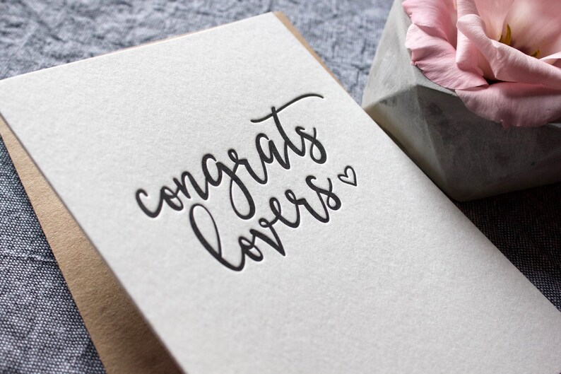 Letterpress Congrats Lovers Card