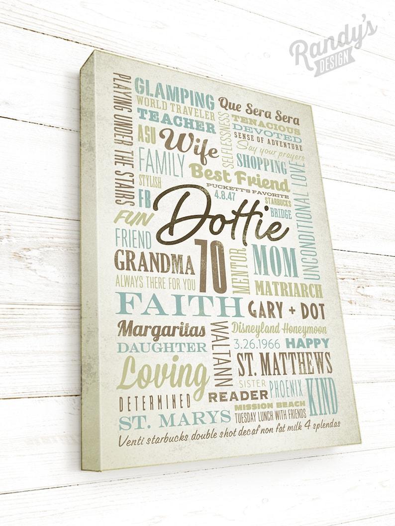 70th Or 60th Birthday Gift For Mom Word Art Custom