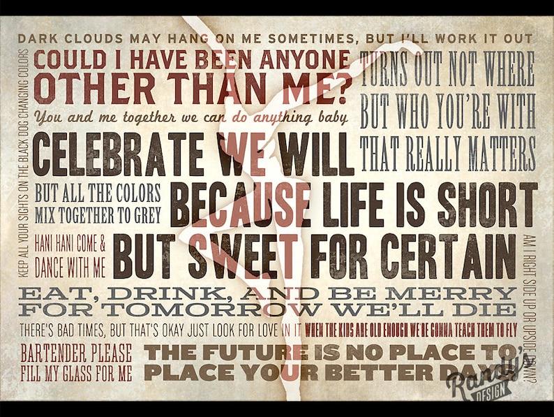 Dave Matthews Band Lyrics Sign, DMB Lyric Collage, Husband Wife Gift,  Anniversary, Fire Dancer, Pick YOUR Lyrics