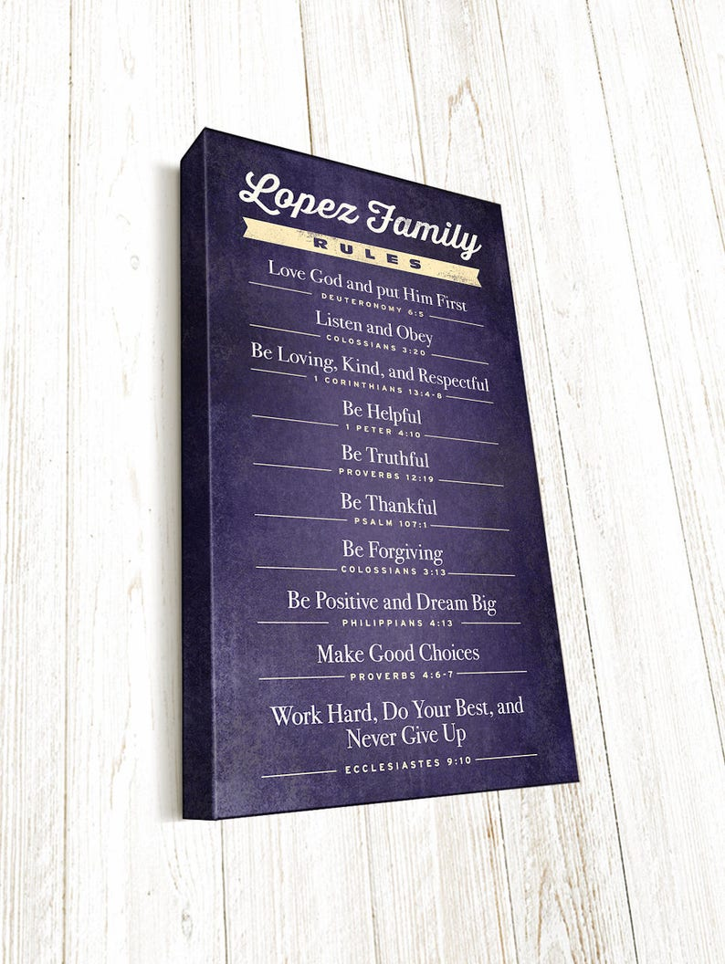 Family Rules Bible Verse, Christian Family Rules, Family Mission Statement,  Canvas Gallery Wrap with 1 5 inch depth