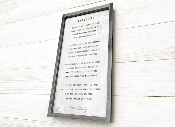 Invictus Poem By William Ernest Henley Inspirational Sign Dorm Decor Wall Art Framed Hand Crafted Rustic Barnwood Heavyweight Canvas