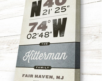 First Home Gift, gps Coordinates Sign, Personalized, READY TO HANG Latitude and Longitude, Location Sign, New Home Housewarming Gift