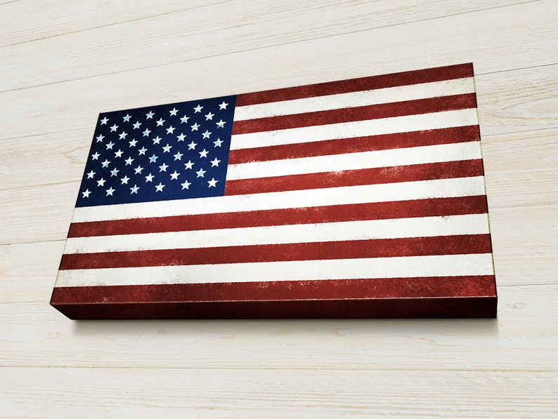 American Flag Wall Art Veterans Gift Fourth Of July Vintage Etsy