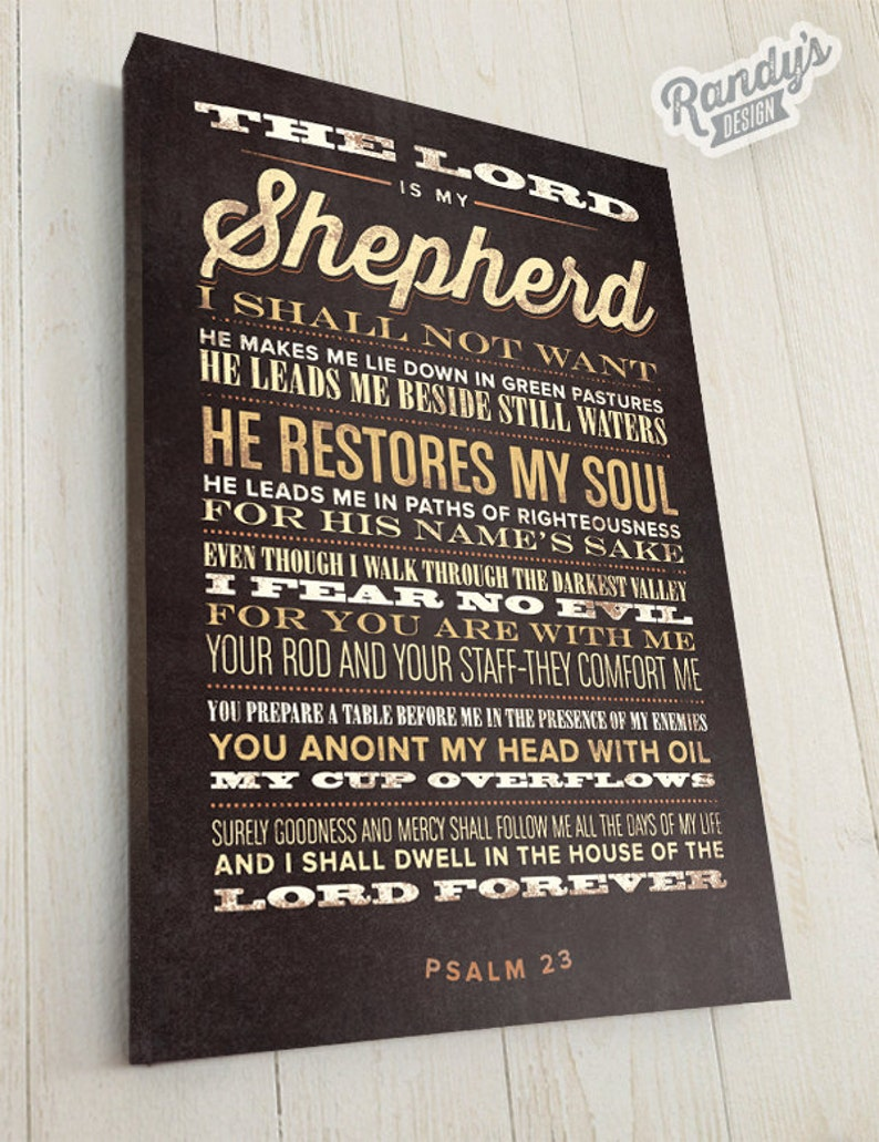 Scripture Wall Art The Lord Is My Shepherd Bible Verse Canvas Bible Verse Wall Decor Psalm 23 Premium Canvas