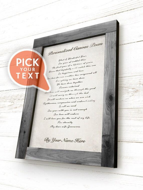 Framed Personalized Canvas Poem Custom Poem Print Custom | Etsy