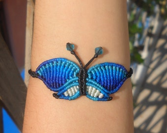 Macrame bracelet blue butterfly/handmade micromacrame