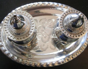 International Silver CO Silver Salt and Pepper Shakers with Decorative Tray & Velvet Storage Box