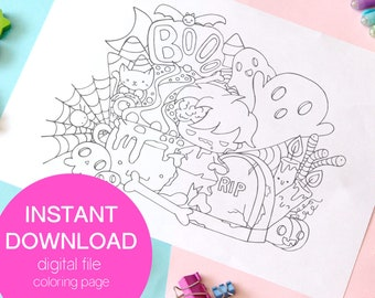 Cute zombie printable coloring page, spooky cute doodle coloring sheet, kawaii coloring page, creepy cute coloring page printable