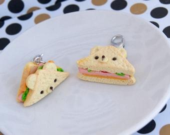 Cute kawaii bear sandwich charms, cute clay miniature food charms, cute kawaii animals charms, cute miniature sandwich, polymer clay charms