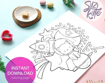 Cute cat printable coloring page, printable outer space coloring page for Kids, kawaii outer space printable activity, kids coloring sheet