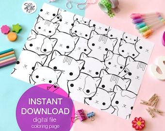 Kawaii cat printable coloring page, cute cat doodle coloring page printable, cat costume masks printable, kids coloring sheet, party masks