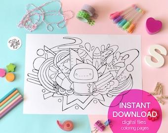 Cute robot printable coloring page, school supplies coloring sheet, kawaii school draw printable, kids coloring sheet, cute doodle printable