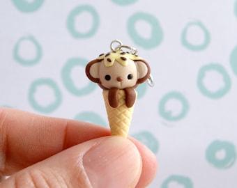 Cute monkey ice cream charm, polymer clay kawaii charms, cute animals charms, animal stitch marker, tiny cute clay charms, miniature monkey
