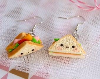 Kawaii sandwich earrings, clay food earrings, cute half sandwich earrings, cute clay earrings, kawaii fashion, cute food jewelry