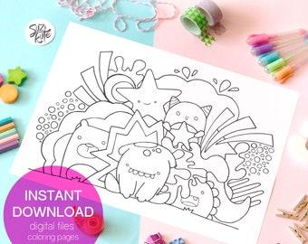 Cute monster printable coloring page for Kids, kawaii monster coloring sheet, kawaii draw digital printable, cute coloring doodle printable