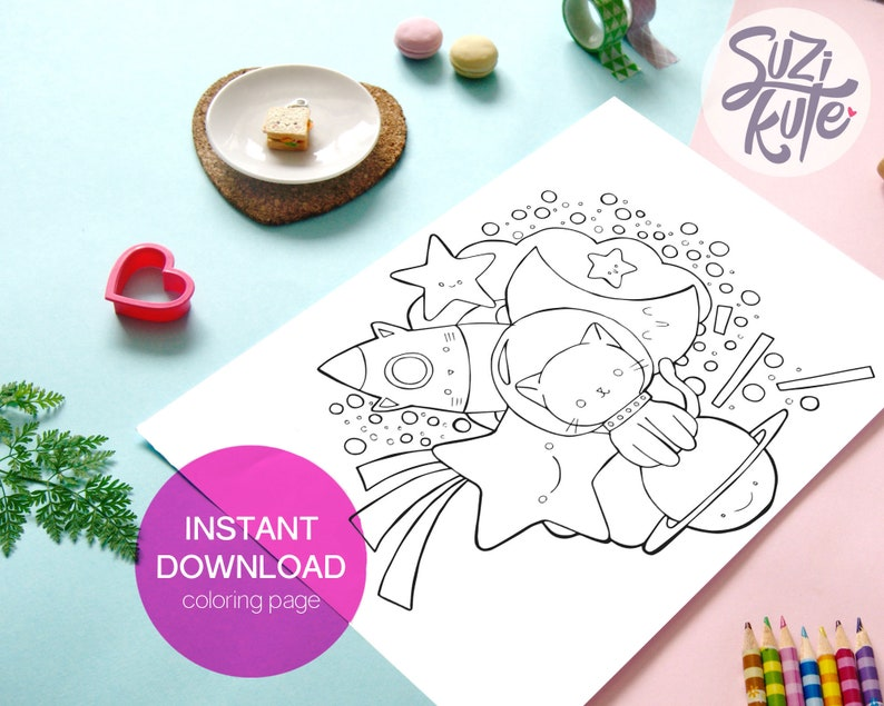 Cute cat printable coloring page printable outer space image 0