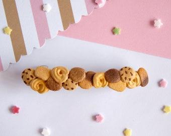Miniature cookies hair clip, kawaii hair clip, barrette hair clip, miniature food, clay hair clip, sweet lolita accessories, kawaii fashion