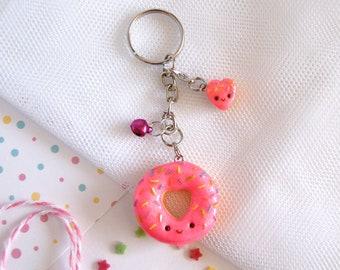 Cute pink donut keychain, kawaii donut keyring, Mother's Day keyring, cute doughnut charm, best friends keyring, pink doughnut keyring