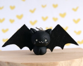Cute bat charm, miniature bat kawaii charm, kawaii polymer clay charm, cute clay animals, kawaii pet charm, miniature animals charms