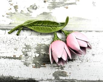 Vintage Flower Power Brooch Repurpose Upcycle Pastel Pink Tulips Tulip Stems Painted Enamel Petals Green Leaf Stem Sparklykreations Jewelry