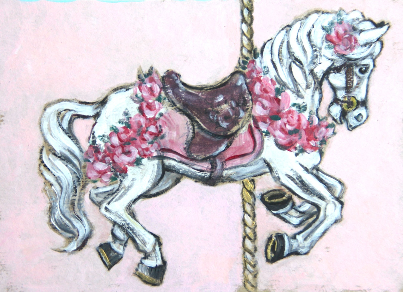 Set Of 2 Carousel Horse Printables Greeting Cards Prints Quilting