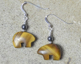 Zuni Fetish style Tigers Eye Bear Earrings, beaded with Sterling Silver (3 lovely pairs to choose from)