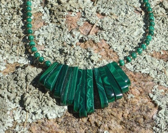 Malachite Bib Necklace, beaded with Gold Filled findings (2 unique necklaces to choose from)