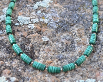 Malachite Barrel Necklace SET, beaded with Gold Filled findings