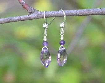 Amethyst Faceted Marquis Earrings, hand wrapped with Sterling silver wire