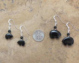 Zuni Fetish style Black Onyx Bear Earrings, beaded with Sterling Silver (Available in 2 sizes)