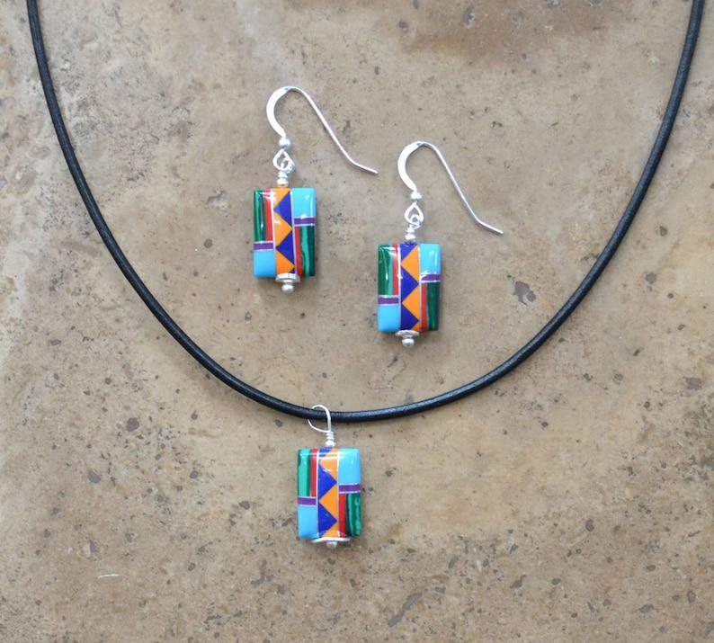 Zuni Fetish style Multi Inlay beaded Rectangle Earrings /& Necklace SET