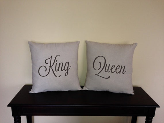 King Queen Decorative Pillow Covers For Home And Showers His Etsy Amazing King And Queen Decorative Pillows