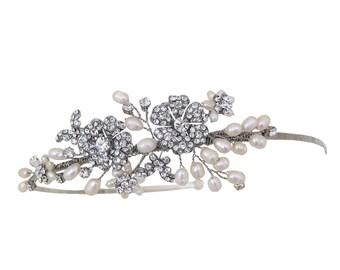 Vintage Style Rhodium Plated Flower & Butterfly Detail Wedding Headband