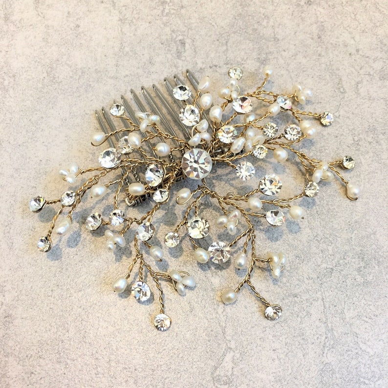 Hand Wired Freshwater Pearl /& Diamante Hair Comb with Vintage Gold Finish.