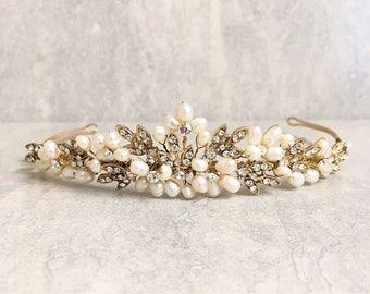 Antique Gold, Ivory Freshwater Pearl & Diamante Wedding Tiara